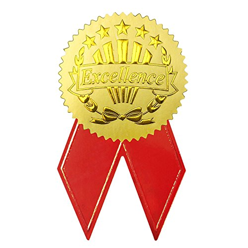 Gold Badge Awards - UNIQOOO Pack of 36 Gold Foil Certificate Embossed Seals Sticker, Excellence With Red Ribbon, Great for Decoration