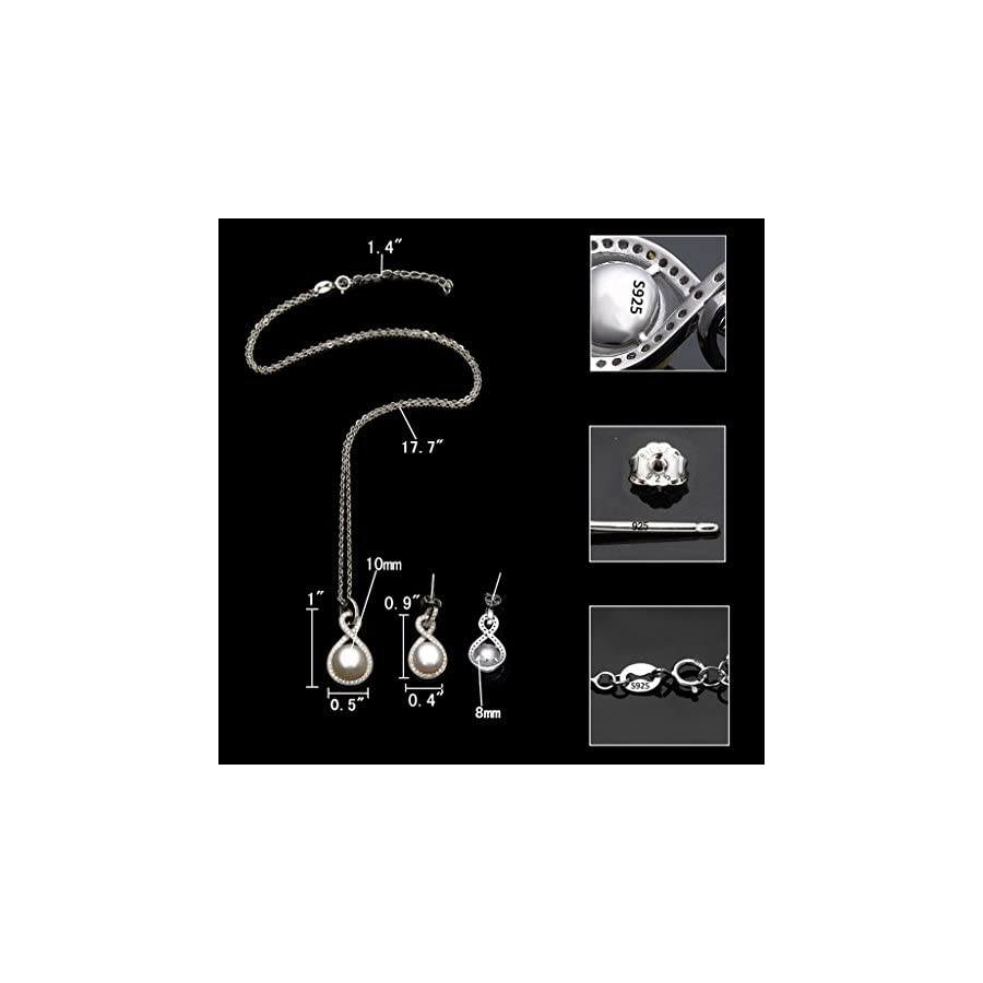 EleQueen 925 Sterling Silver CZ AAA Button Cream Freshwater Cultured Pearl Bridal Jewelry Necklace Earrings Set