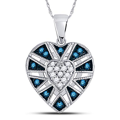 - Jewels By Lux 10kt White Gold Womens Round Blue Color Enhanced Diamond Milgrain Heart Cluster Pendant 1/4 Cttw In Pave Setting (I2-I3 clarity; Blue color)