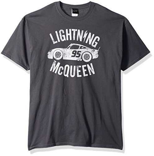 Disney Men's Cars 3 Lightning McQueen Graphic T-Shirt, Charcoal, Medium