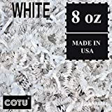 1/2 LB White Crinkle Shred Gift Basket Shred Crinkle Paper Filler Bedding by COTU (8 oz)