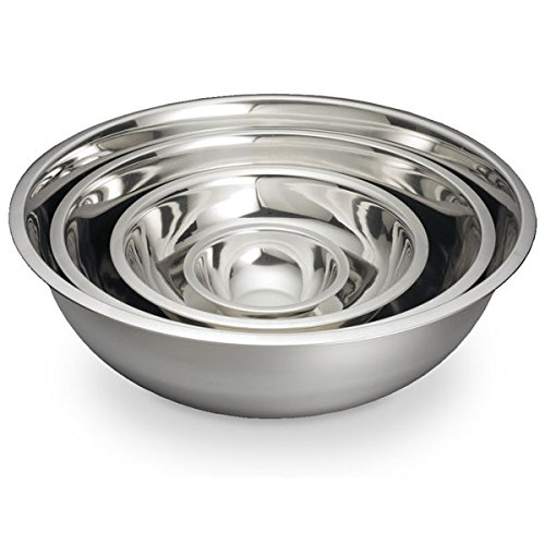 ChefLand Mixing Bowl, Large, Stainless Steel, Set of 4 Sizes - 3, 5, 8 and 13 Qt