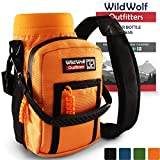 Wild Wolf Outfitters Water Bottle Holder for 32oz Bottles Orange - Carry, Protect and Insulate Your Best Flask with This Military Grade Carrier w/ 2 Pockets & an Adjustable Padded Shoulder Strap