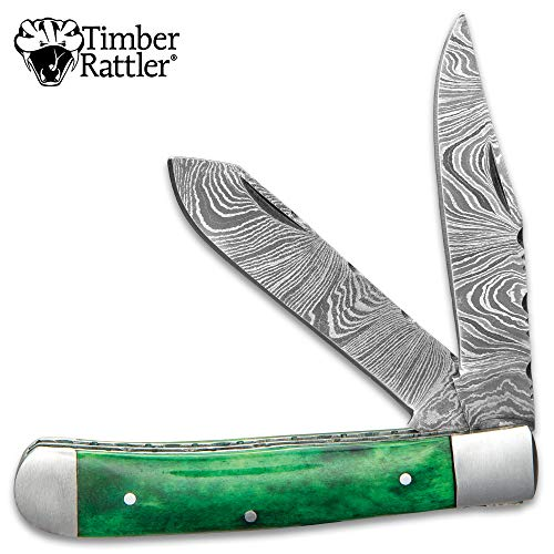 Rainforest Handle Green - Timber Rattler Rain Forest Pocket Knife - Damascus Steel Blades, Green Bone Handle Scales, Stainless Steel Bolsters and Pins