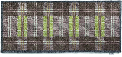 Hug Rug T224 Eco-Friendly Absorbent Dirt Trapping Indoor Washable Runner, 25.5-Inch x 59-Inch Green/Grey Plaid