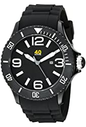 40Nine Men's 40NINE01/BLACK3 Extra Large 50mm Analog Display Japanese Quartz Black Watch