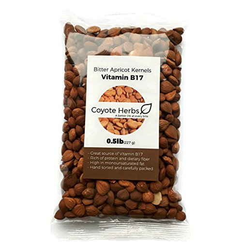 Apricot kernels/Natural/ Organic/raw/ Bitter Apricot Kernel Seeds/Vitamin b17/Certified/ 0.5 Pound (8 OZ)