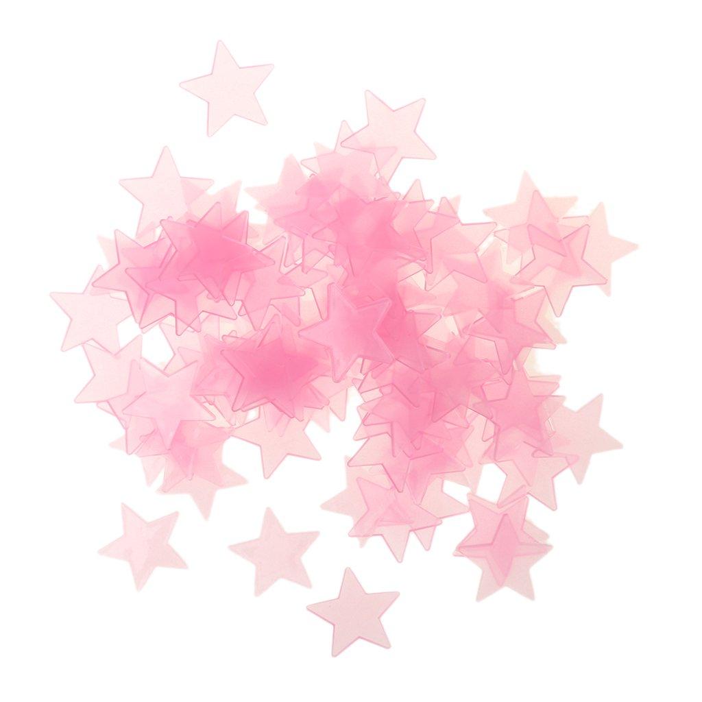 MonkeyJack 100 Pieces Glow In The Dark Star Plastic Sticker Kids Ceiling Wall Bedroom Decor - Pink, 3cm