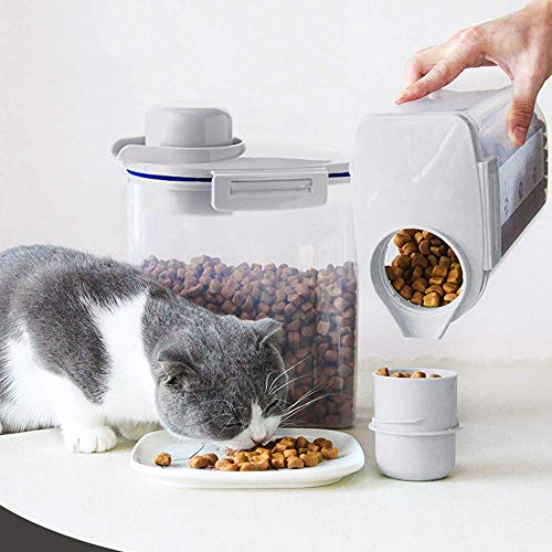 Ansee Pet Food Storage Container, Cereal Container with Airtight Design Pour Spout Measuring Swivel Cup, BPA-Free Dry Food Dispenser for Dogs Cats Birds (Gray)