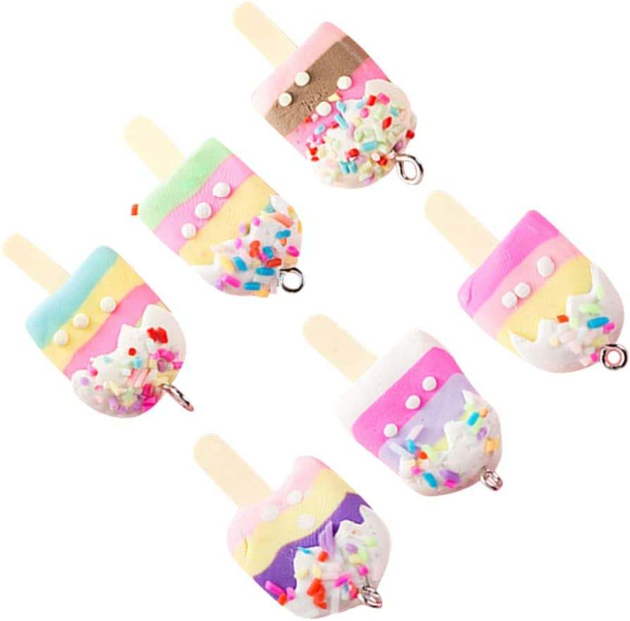 EXCEART 30PCS Ice Cream Charm Pendant Handmade Polymer Clay Big Pendant Link Charms Food Popsicle Slime Beads for Phone Straps Key Bag Decor DIY Jewelry Making (Mixed Color)