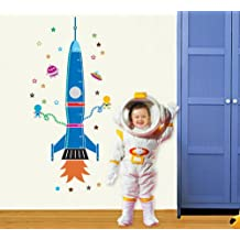 UfingoDecor Cartoon Rocket Spaceship and Extraterrestrial DIY Height Chart Decals(80-170cm)(31in-60in), Children's Room Nursery Removable Wall Stickers Murals