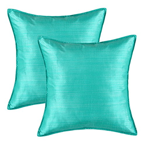 Pack of 2, CaliTime Silky Throw Pillow Covers Cases for Couch Sofa Bed, Modern Light Weight Dyed Striped, 26 X 26 Inches, Turquoise Boudoir Pillow Cover