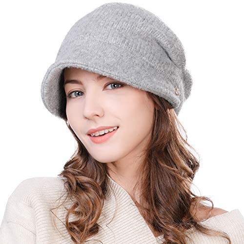 Womens Wool Visor Beanie Crochet Knit Newsboy Beret Cap Cold Weather Winter Hat Ladies Fashion Fleece Grey