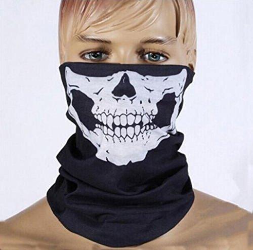 Etech Black Seamless Skull Face Tube Mask Buff