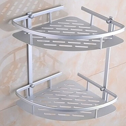Zorvo Matte Space Aluminium Shelves Triangular Shower Caddy Bathroom Wall Corner Rack Storage Organizer Holder Mountable storage Shelf Double Hanging basket for Bathroom, Toilet, Hotel, kitchen