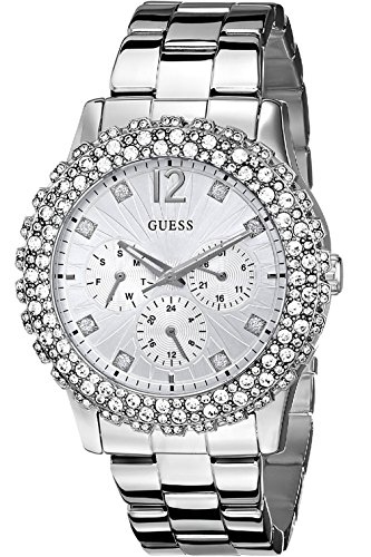 GUESS W0335L1 Silver Tone Multi Function Crystal