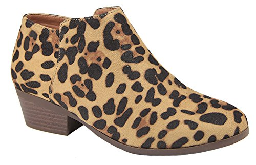 Bella Marie AE47 Women's Side Zip Stacked Block Heel Ankle Booties Leopard