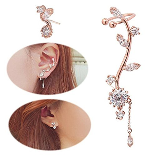 Iumer Crawl Leaves Earring Cuff Chandelier Rhinestone Wrap Pin Asymmetric Flower Earring Rose (Chandelier Flowers Earrings)