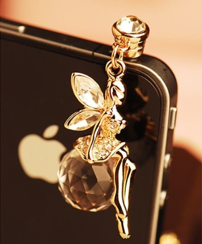 Heart Dangle Phone Charm - CJB Dust Plug / Earphone Jack Accessory Golden Fairy Crystal Ball for iPhone 4 4s S4 5 All Device with 3.5mm Jack (US Seller)