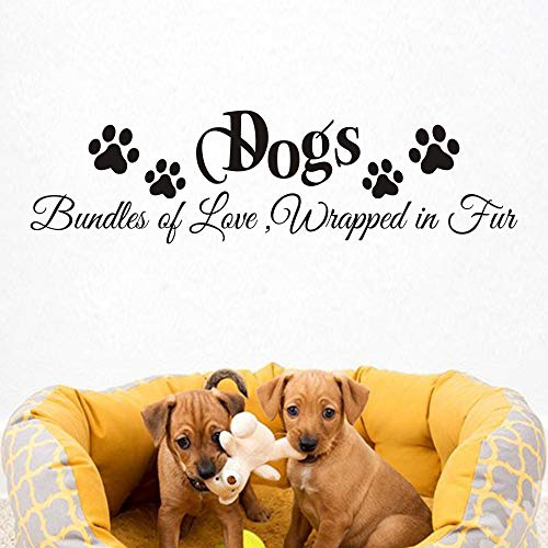 Vinyl Pet (FlyWallD Gods Wall Decal Vinyl Cute Decor Pets Room Quote -Bundles of Love Wrapped in Fur)