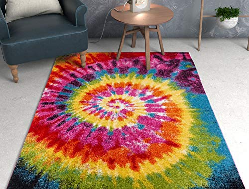Tie Dye Retro Rainbow Trippy Multi Hippie Red Orange Yellow Green Modern Painting 3x5 (3'3