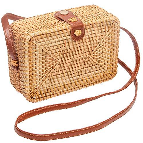 (Wicker Square Crossbody Rattan Bag, Women Boho Bag Clutch Woven Handbag)