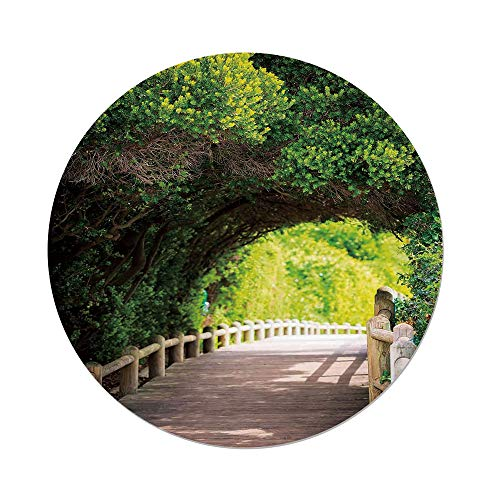 iPrint Polyester Round Tablecloth,Forest,Nature Boardwalk Through Green Archway Bridge Foliage Trees Sunny Summer Day,Beige Green Brown,Dining Room Kitchen Picnic Table Cloth Cover,for Outdoor Indoor