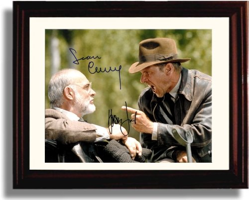 Framed Sean Connery And Harrison Ford Autograph Replica Print   Indiana Jones