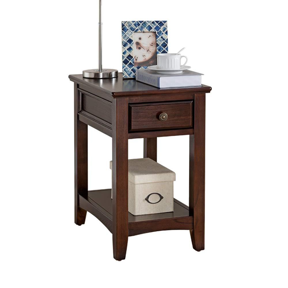 XIAOYAN 純木のソファーのサイドテーブルのレトロの狭い長い端のテーブルの居間のサイドキャビネットの小さい正方形のテーブル3色58×38×60cm (色 : A) B07Q3FZRJ4 A