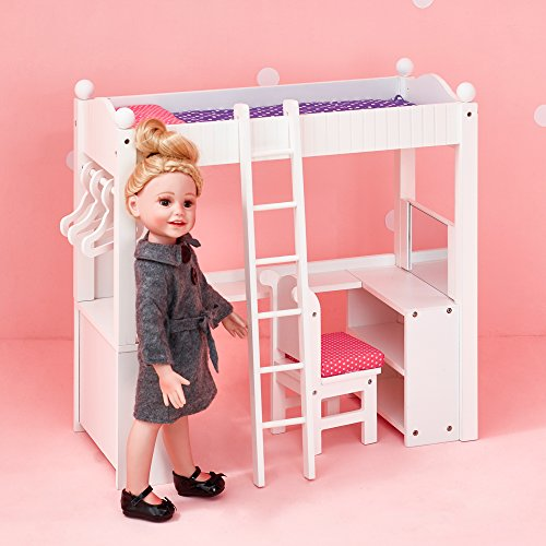 Olivia's Little World - Princess College Dorm Double Bunk Desk (Grey Polka Dots) | Wooden 18 inch Doll Furniture