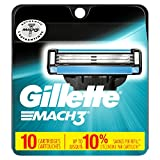 Gillette Mach3 Disposable Razors Gillette Mach3 Men's Razor Blade Refills, 10 Count (packaging may vary), Mens Razors / Blades