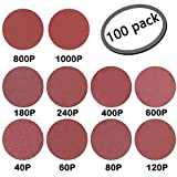 GeBot 100PCS 6-Inch NO-Hole PSA Aluminum Oxide Sanding Disc Assorted 40/60/80/120/180/240/400/600/800/1000 Grits (6 Inch)