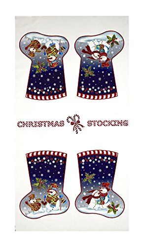 Fabri-Quilt Snowman Christmas Stocking 23.5in Panel White Fabric,