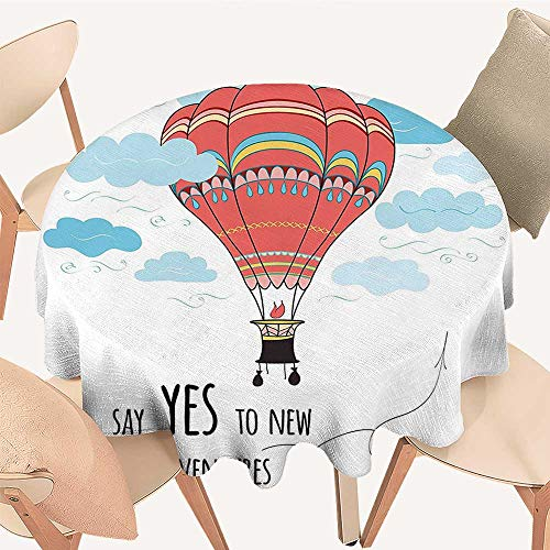 Modern Table Circle Cloth Quote Say Yes to New Adventures Cute Hand Drawn Hot Air Balloon Coral Indoor or Outdoor Parties, 51 INCH -