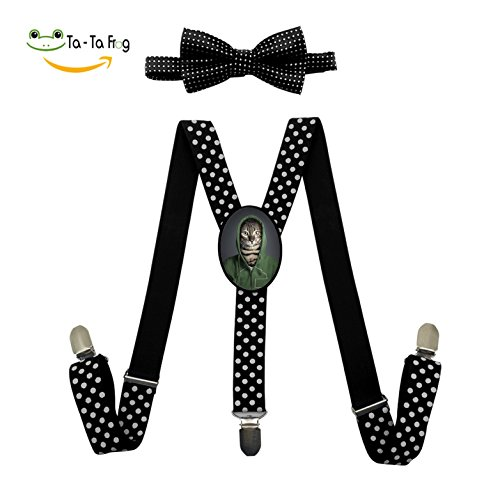 Mr Strong Costume (Tabby Mr Cats Unisex Kids Adjustable Elastic Y-Back Solid Suspenders Bow Tie Set for Boys Girls)