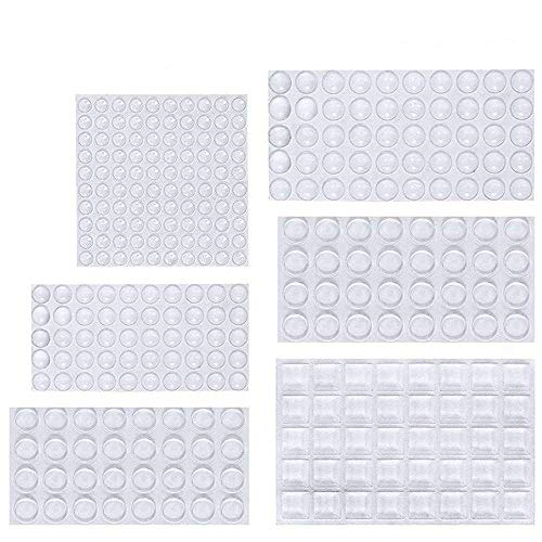 (ONUEMP Clear Rubber Feet Bumpers Pads, 304 Pieces Adhesive Transparent Bumper Buffer Pads, 6 Sizes, 3 Shapes - Round, Hemispherical, Square Noise-Dampening Bumpers for Door, Drawers, Glass Non Slip)