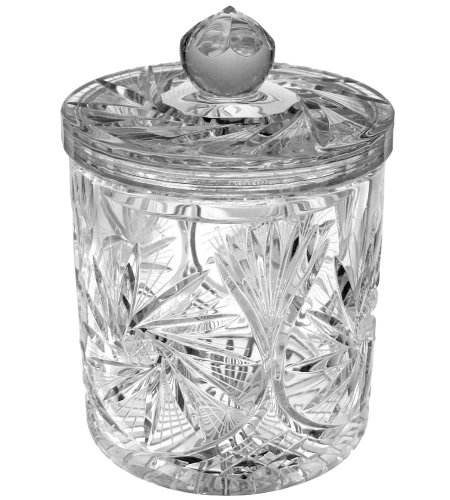 Handcut Crystal Cookie Jar, Mouth Blown in a Pinwheel Design, 2 Quart
