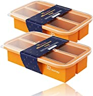 Hot Homey 2 Pack Extra-Large Silicone Ice Cube Freezer Tray with Lid - Perfect Portions of Soup, Broth or Sauc
