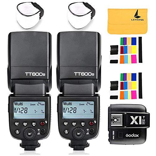 GODOX TT600S GN60 2.4G 2X Camera Flash Speedlite for Sony MI Hot Shoe Camera +Godox X1T-S Wireless Flash Trigger Transmitter for Sony DSLR Cameras with MI Shoe