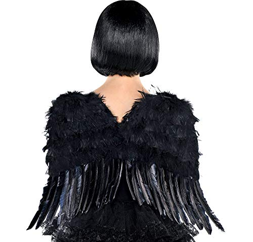 AMSCAN Black Angel Wings Halloween Costume Accessories for Adults, One Size ()