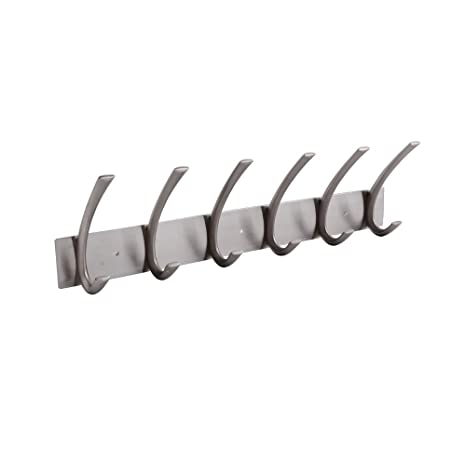 Kes Coat Hook Rack Rail With 6ged Hooks Wall Mount Solid Metal Brushed