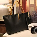 Women PU Leather Tote Shoulder Bags Hobo Handbags Satchel Messenger bag Purse GO, Additional small bag to put your small items or coins in it.(ฺฺBlack)