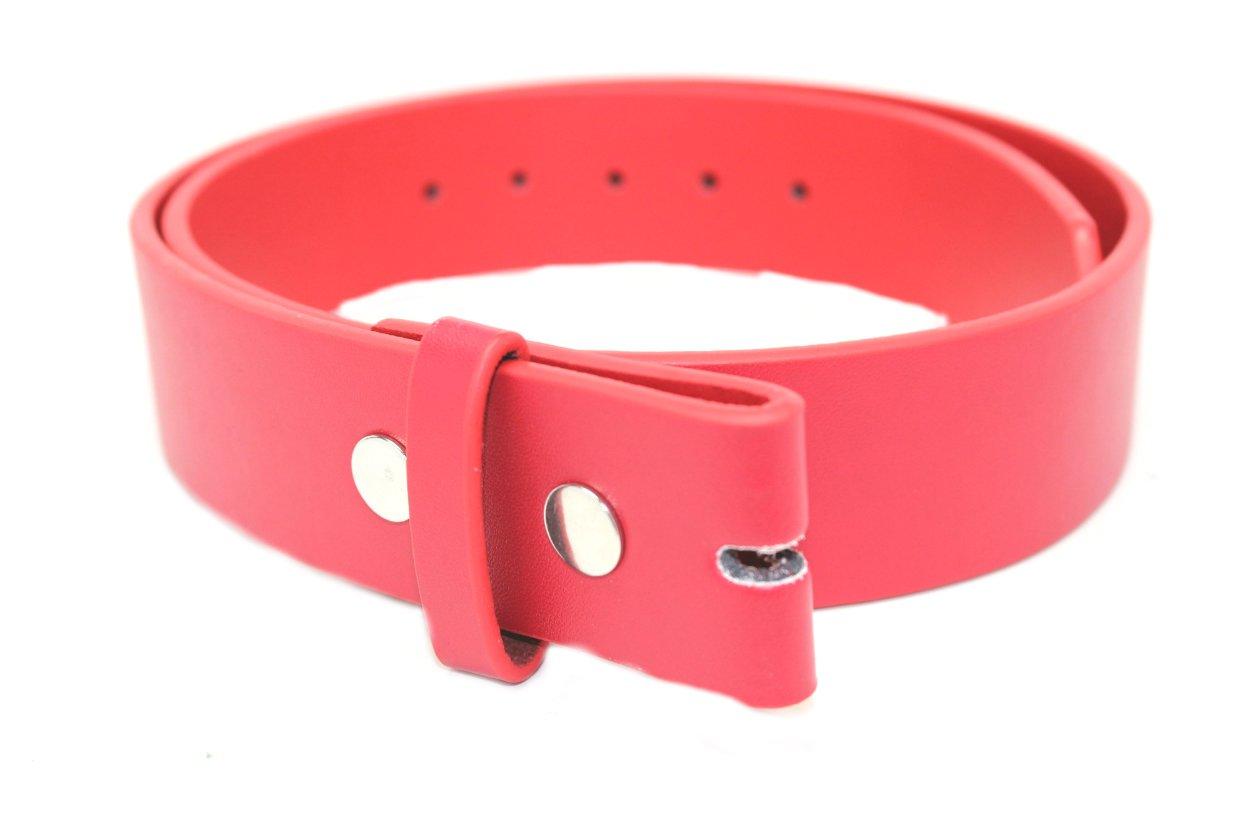 Deal Fashionista Men's Plain Leather Strap Snap On Belt L Red