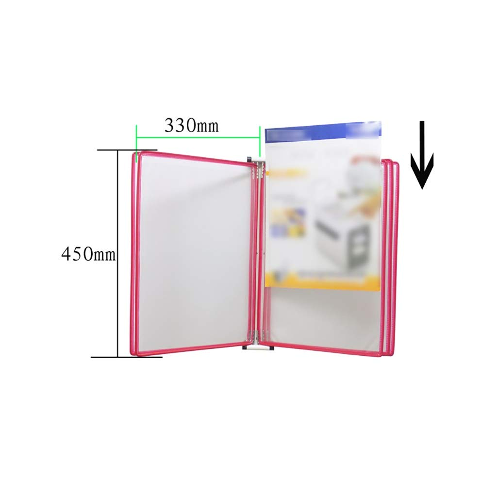 QSJY File Cabinets A3 Flip Folder,Magnetic Wall-Mounted Loose-Leaf Transparent Page Display Stand (PVC + Metal) 45335CM (Color : D-5)