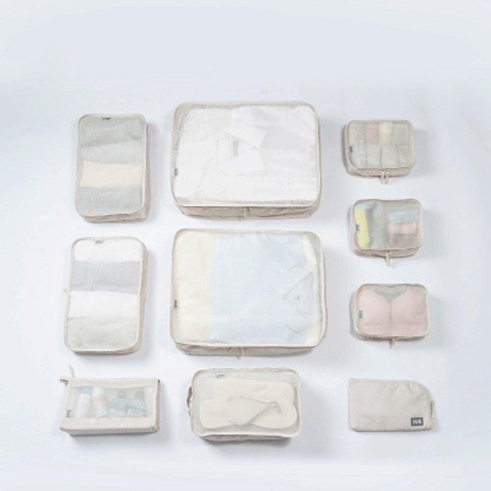 Travel Storage Bag Must-Have Package Travel Storage Waterproof Nylon Drawstring Drying Bag Clothes Luggage Luggage Storage Bag Set of 6 (Color : Beige)