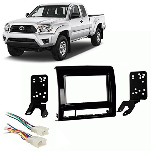 Fits Toyota Tacoma 12-15 Double DIN Car Stereo Harness Radio Install Kit - Gloss Dash