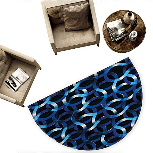 (Dark Blue Semicircle Doormat Curvy Shaped Entangled Complex Industrial Modern Mesh Machinery Concept Halfmoon doormats H 66.9