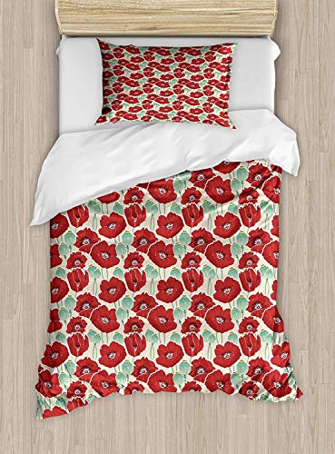 MIGAGA Poppy Twin Size Duvet Cover Set, Spring Garden Pattern with Red Blossoms Seed Capsules and Little Dots, Decorative 2 Piece Bedding Set with 1 Pillow Sham, Mint Green Ruby and Beige