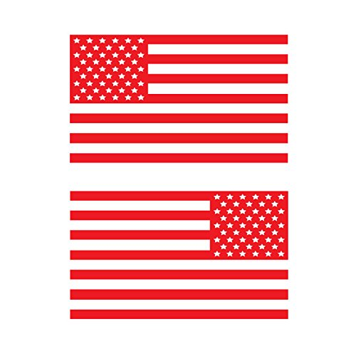 - USA Subdued Single Color American Flag 50 Stars 2 Vinyl Die-Cut Decals - Includes Standard and Reversed Designs - Small - Red