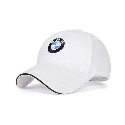 Car Logo Adjustable Baseball Cap, Unisex Hat Travel Cap Car Racing Motor Hat for BMW (White): Automotive